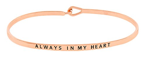 ''Always in My Heart'' Sentimental Quote Thin Brass Band Bangle Hook Mantra Bracelet Sympathy, Remembrance, Condolence, Thinking of You Jewelry Gifts (Rose Gold Tone)