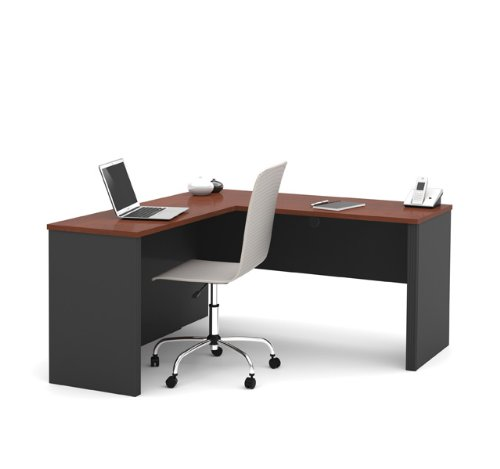 Bestar Prestige + L-Shape Computer Desk in Bordeaux and Graphite (Corner Bestar Desk)