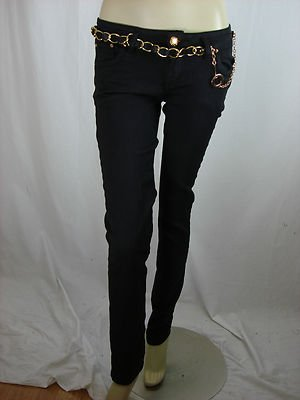 Ladies Black Skinny Jeans With Chain Belt: Amazon.co.uk: Clothing