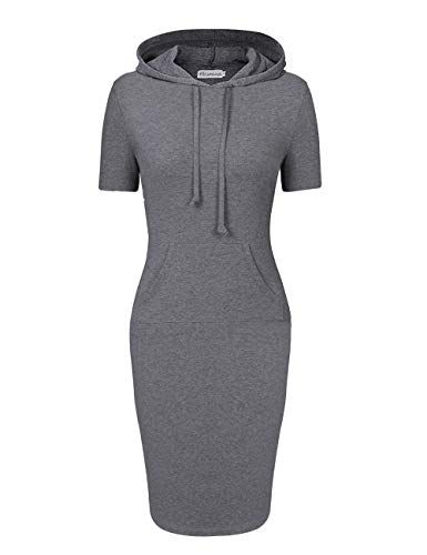 Women Hooded Dress 3/4 Sleeve Sweatshirt Pullover Stripe Keen Length Kangaroo Pocket Dress (M, Grey Short Sleeve) (3/4 Sleeve Hoodie)
