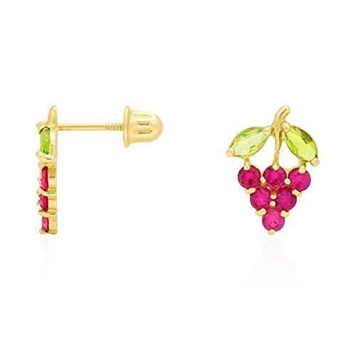 - 14k Yellow Gold Amethyst & Ruby Grapes Stud Screwback Earrings, Ruby