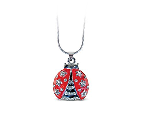 (Puzzled Red Ladybug Necklace, 18 Inch Fashionable & Elegant Silver Chain Jewelry with Rhinestone Studded Pendant for Casual Formal Attire Nautical Themed Girls Teens Women Fashion Neck Accessory )