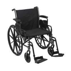 McKesson Drive Wheelchair Lightweight, Dual Axle Flip Back Detachable Padded Desk Arm Composite 20in