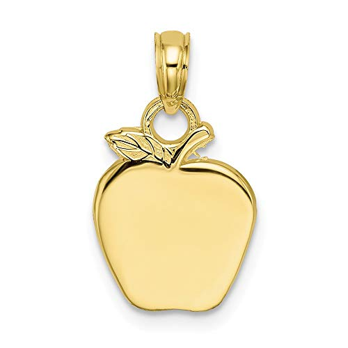 (10k Yellow Gold Apple Pendant Charm Necklace Career Professional Teacher Fine Jewelry Gifts For Women For Her)