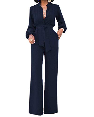 9a03a37572 OLUOLIN Jumpsuits for Women Elegant Sexy V-Neck Long Sleeve Rompers Wide Leg  with Belt