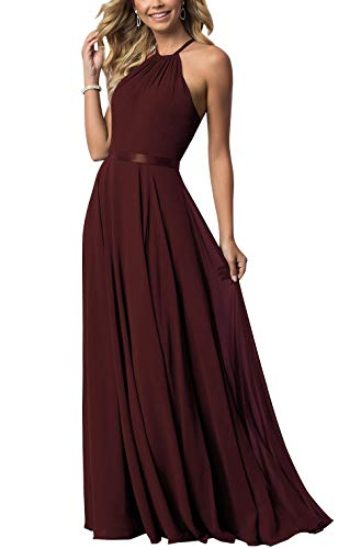 Bridesmaid Dresses Long Halter Chiffon Aline Prom Formal Wedding Party Dress Womens Burgundy 4