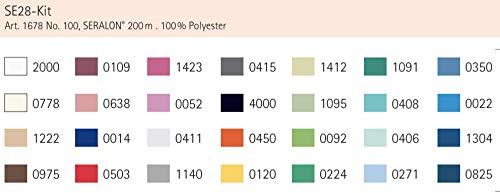 Set di 28 Fili da Cucito Mettler SERALON 100/% Poliestere 200 m per Rotolo Filo Universale per Cucire o ricamare Kit SE28