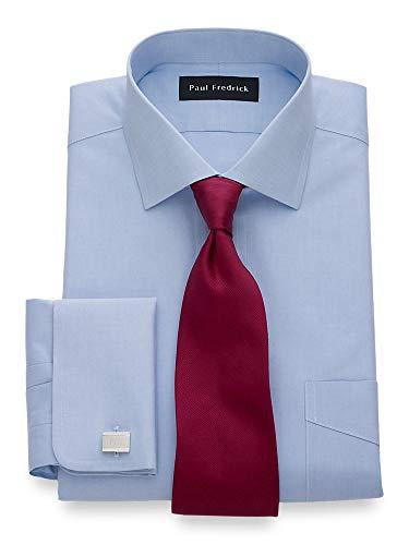 Paul Fredrick Men's Non-Iron Cotton Pinpoint Spread Collar Dress Shirt