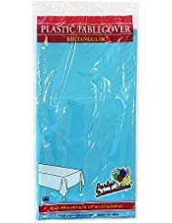 Plastic Party Tablecloths - Disposable, Rectangular Tablecovers - 4 Pack - Island Blue - By Party Dimensions ()
