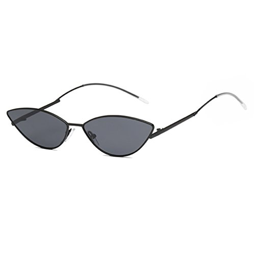 Armear Vintage Retro Cat Eye Non Polarized Sunglasses Oval Metal Frame Clout Goggles (Black/smoke, 61)