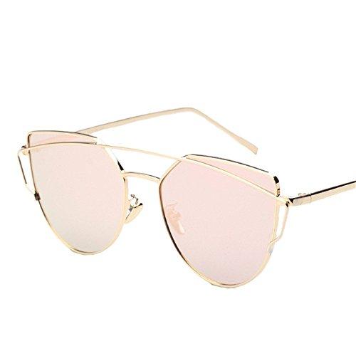 Damen Mädchen Mode Outdoor PC-Objektiv UV400 Sonnenbrille Brillen,Gold/ Rosa