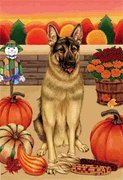 Cheap German Shepherd by Tomoyo Pitcher, Autumn Themed Dog Breed Flags 28 x 40