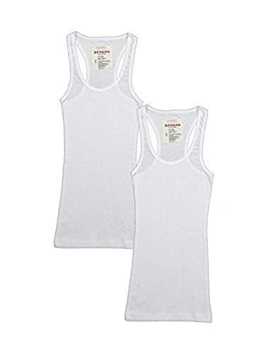 (2 Pack Zenana Women's Basic Ribbed Tank Top Large White & White)