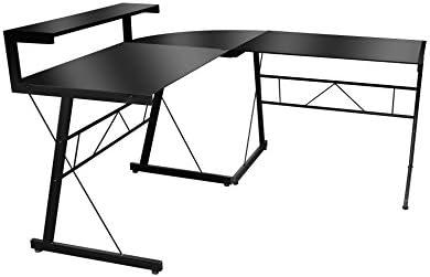 MUEBLES MATO - Mesa ordenador style cristal negro: Amazon.es: Hogar