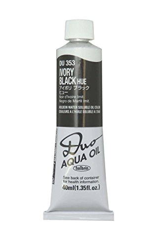 (Holbein Duo Aqua Water-Soluble Oil Color 40 ml Tube - Ivory Black)