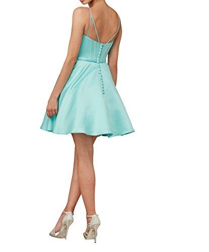 Promkleider Abendkleider Partykleider Blau Rock Festlichkleider Damen Charmant Satin Kurzes Cocktailkleider Knielang CtXPYwq