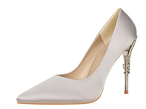 Brief Shoes coollight Korean Gray Shoes Fashion Suede Heel Shoes Wedding Metal Carved with High Pointed with Sexy Stiletto U8raBU