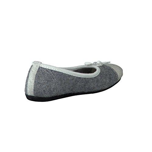 Tofee 65079-1 Ballerina Damen Hausschuhe Pantoffel grau