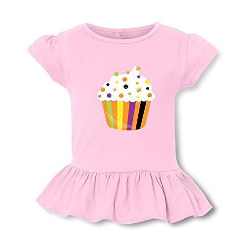 Girly Halloween Cupcakes (Halloween Cupcake Short Sleeve Toddler Cotton Girly T-Shirt Tee - Soft Pink,)