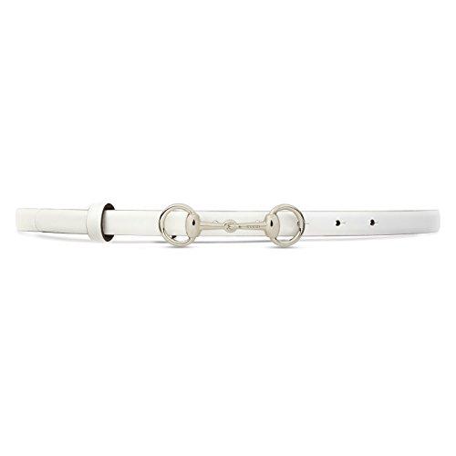 Gucci Women's White Horsebit Buckle Leather Skinny Belt, 28, White