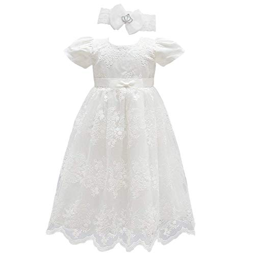 Glamulice Baby Girls Flower Christening Baptism Dress Formal Party Special Occasion Dresses for Toddler (20-26M, Off White Dress & Headband) -
