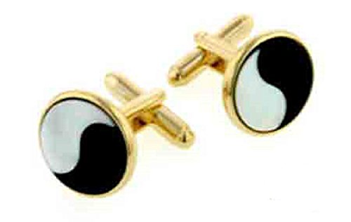 JJ Weston Mother of Pearl and Onyx Yin and Yang Cufflinks. Made in the - Pearl Cufflinks Plated Of Gold Mother