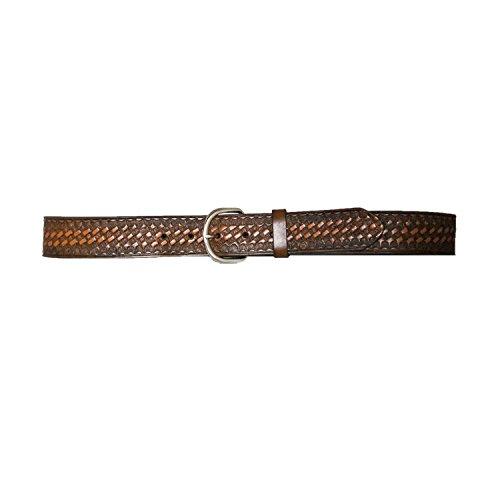 Hickory Creek Men's 1 1/2 inch Buffalo Veg Basket Weave Brown Leather Belt - D-Ring Buckle - Size 38