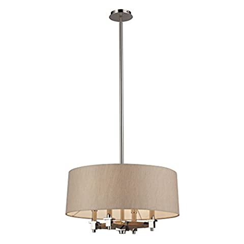 Alumbrada Collection Jorgenson 4 Light Pendant In Polished Nickel And Taupe Wood - Tapered Angle Mahogany Finish