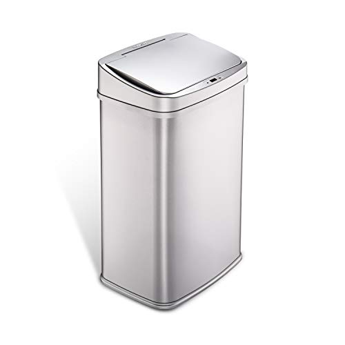 NINESTARS DZT-50-28SL Automatic Touchless Infrared Motion Sensor Trash Can, 13 Gal 50L, Stainless Steel Base (Rectangular,  Silver - Storage Bins Big