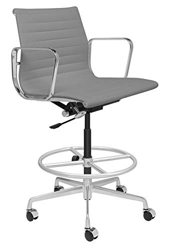 Drafting Office Chair Grey Loop - SOHO Premier Ribbed Drafting Chair - Italian Leather and Aluminum, Commercial Grade Draft Height for Standing Desks (Grey)