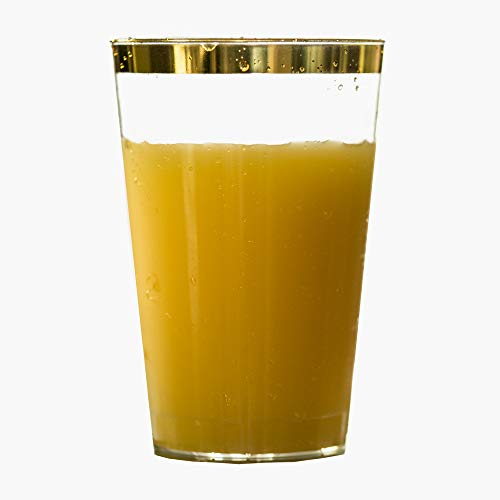 - 12oz Gold Rimmed Plastic Cups 100 Count BPA Free. Hard and Clear Disposable Tumblers. for Parties, Weddings, Dessert, Snacks