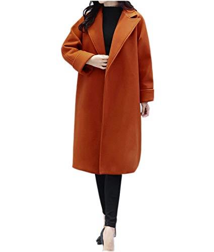 Bobo Fashion Lunga Cappotto Relaxed Tempo Donna Bavero Lunghe Giorno Maniche Autunno Elegante Arancia Invernali Libero Transizione Lana Outwear 88 Di wP0knO