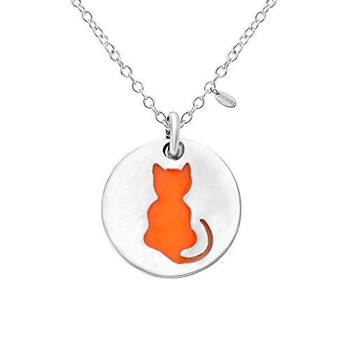 SENFAI Cat Charm Pendant Stainless Steel Necklaces Glow in The Dark Unisex Jewelry -