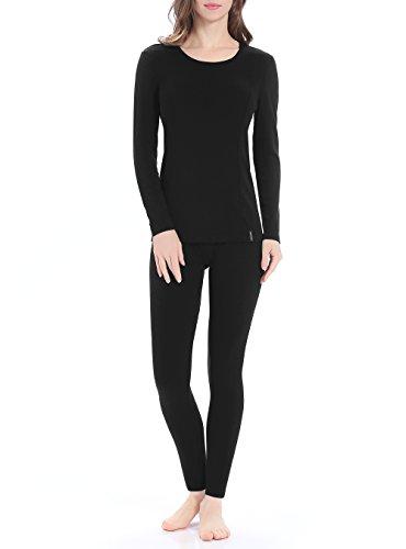 Genuwin Women's Thermal Underwear Set Stretchy Cotton Ladies Long Johns Underwear Women Base Layer S~XL(Black, Medium