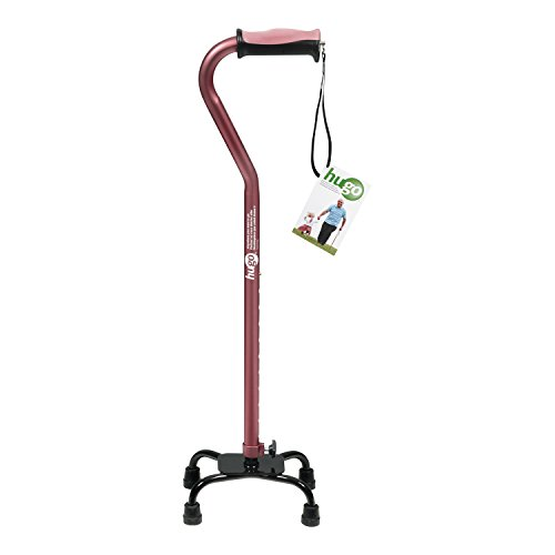 Hugo Adjustable Quad Cane for Right or Left Hand Use, Rose, Small ()
