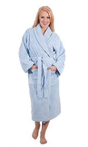 Luxury Terry Cloth Hotel Bathrobe - Premium 100% Turkish Cotton Robe Unisex (Ice Blue, Med)