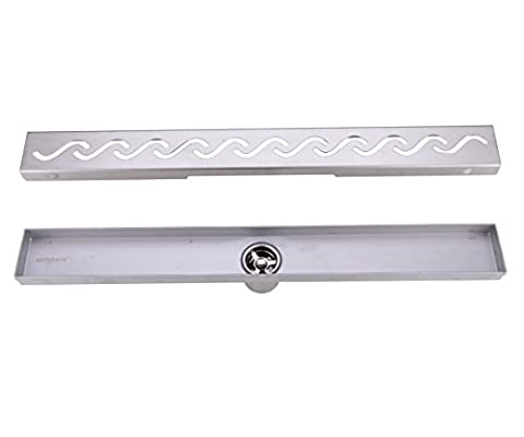 HANEBATH 28-Inch Linear Shower Drain Channel with Removable Grate,Brushed Stainless - Brushed Stainless Adjustable Flange