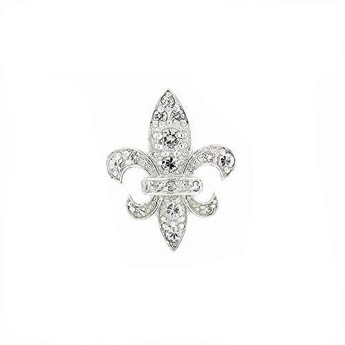 925 Solid Sterling Silver Large CZ Fleur De Lis Pendant / Charm for Necklace, Bracelet - Flower Jewelry