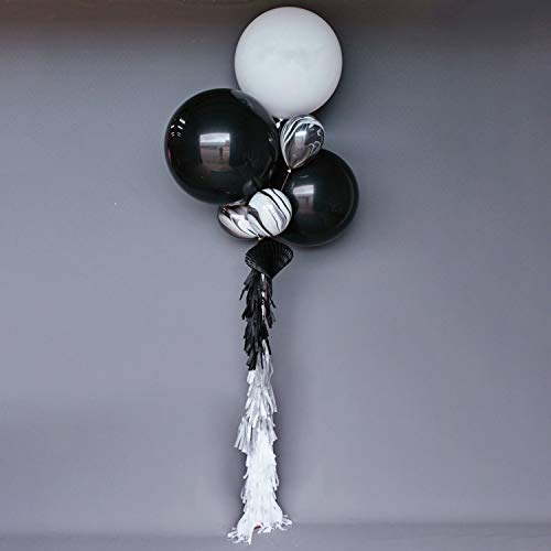 LAttLiv 10 Pack Latex Balloons Set 36 inches Jumbo Balloons 12 inches Marble Balloons Paper Tassels,Black/White/Marbled