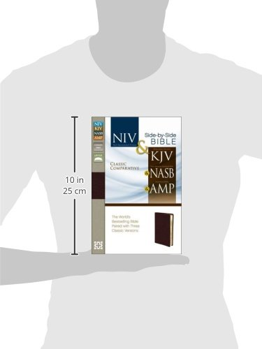 NIV, KJV, NASB, Amplified, Classic Comparative Parallel Bible, Bonded Leather, Burgundy: NIV and   KJV and   NASB and   Amplified by HarperCollins Christian Pub.