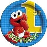 : Sesame Street 1st Birthday Paper Dessert Plates, 8ct