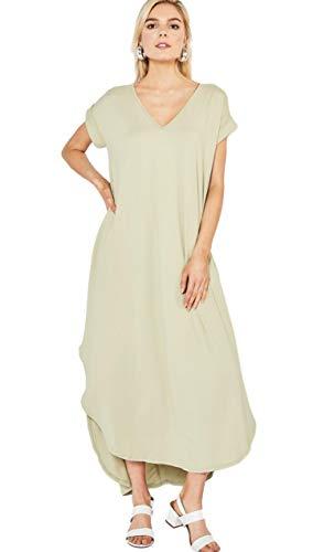 (Entro Women's Short Sleeve V Neck Knit Maxi Dress with Hi Low Hem (Medium, Sage))