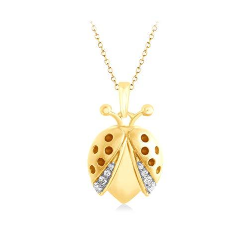 1/16 Ct Pave Natural Diamond Ladybug Pendant 16