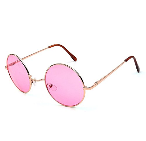 QingFan Men Women Round Vintage Aviator Mirrored Sunglasses Circle Eyewear Summer Outdoor Glasses (A, - Faces Aviators For Round