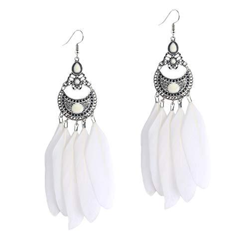 Xmas Gift Natural Long Feather Earring Indian Vintage Boho Handmade Dangle Cute Fashion Hook Earrings for Women Girls