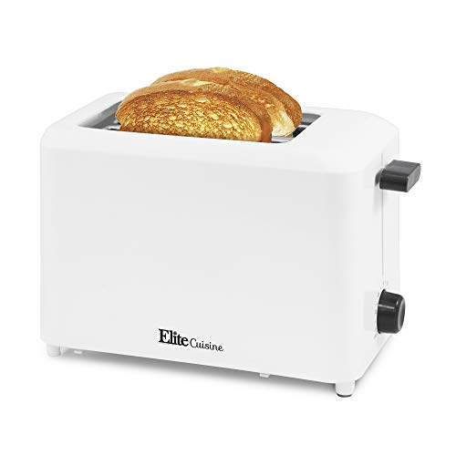 """Elite Cuisine ECT-1027 Cool Touch Toaster with Extra Wide 1.25"""" Slots for Bagels and Specialty Breads, 2 Slices Black"""