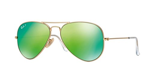 x Aviator Sunglasses Mirrored Polarized (Matte Gold Frame/Green Mirrored Polarized Lens 112/P9, 58) ()