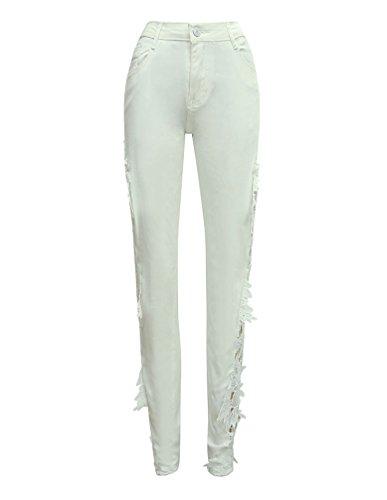 Jeans Pantaloni Strappato Lunghi Denim Vita Skinny Donna Alta Stretch A Bianca Leggings wx7R5BAqU