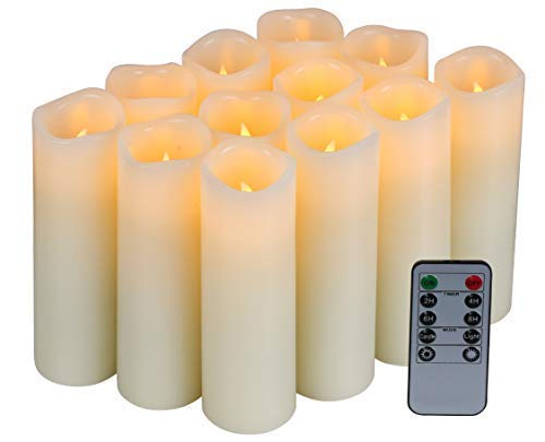 Homelife Set of 12 Flameless Candles Battery Operated LED Pillar Real Wax Flickering Unscented Candles with Remote Control Cycling 24 Hours Timer, Ivory Color ()