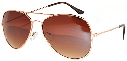 Aviator Sunglasses Gold Metal Frame with Brown Lens Stylish Fashion
